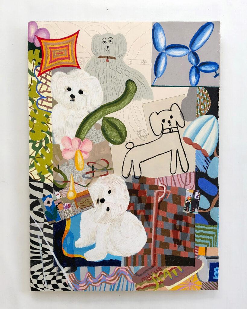 Doggies,2020,oilpastelonpaper,71×100cm